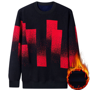 Image 2 - NIGRITY Autumn Winter New Mens Casual Knit Sweaters Plus Velvet Sweater Flannel New Pullovers Spandex O Neck Male Brand Clothes