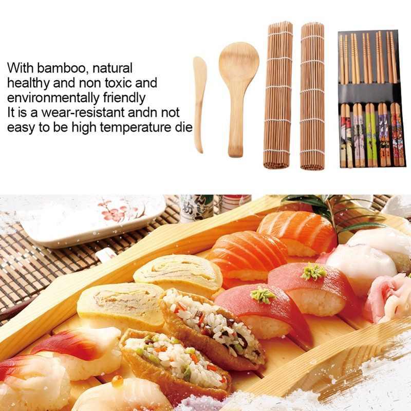 9 pçs/set Conjunto Sushi Diy Criador Arroz Mold Cozinha Sushi Fazendo Tool Kit Conjunto de Ferramentas Para O Rolo de Sushi Molde Sushi Cozinhar Ferramentas de Cozinha