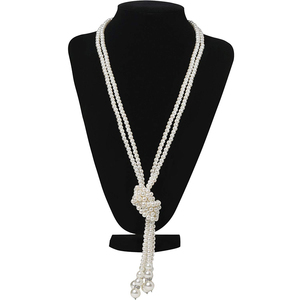 Vintage 1920s Flapper Beads Art Deco Faux Pearl Necklace Cluster Long Pearl Necklace Gatsby Accessories Party Costume Jewelry(China)