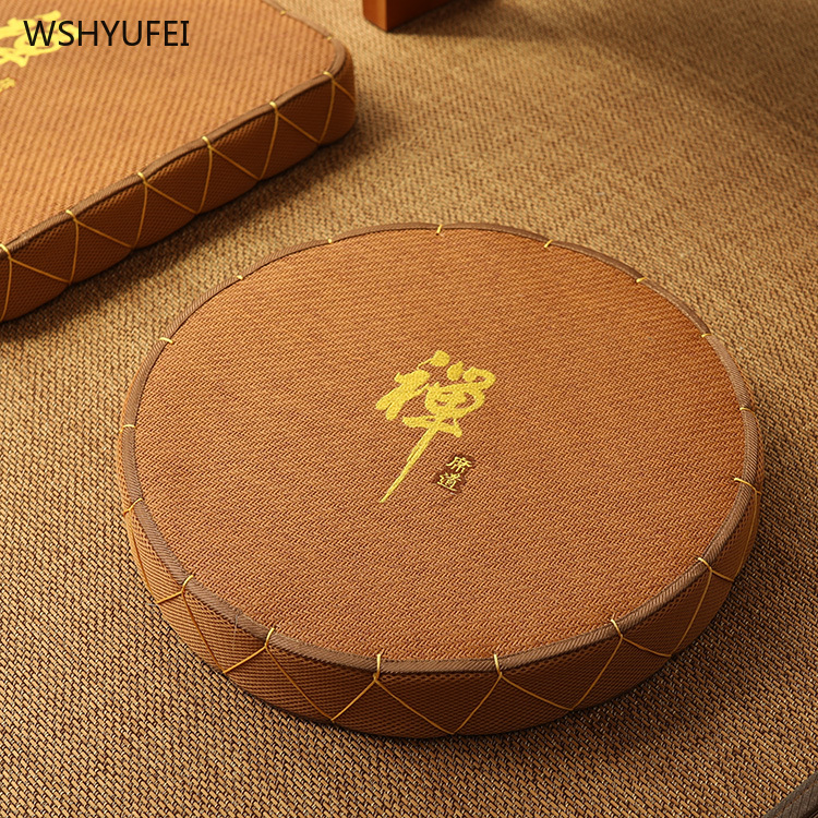 Idyllic Handmade Gold Silk Cushion Meditation Cushion Rattan Round Square Bay Window Cushion Ceremony Buddha Meditating Yoga Mat