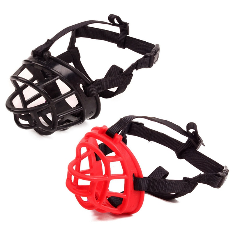 Pet Dogs Training Safety Mouth Covers Basket Masks Breathable Adjustable Anti Bite Dog Muzzle Black Red in Seat Belts from Home Garden