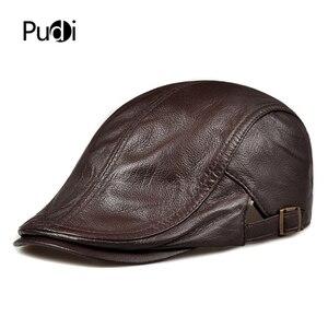 Image 1 - Pudi mens real leather baseball cap hat 2019 fashion new style soft leather beret belt trucker caps Crocodile Grain  HL007