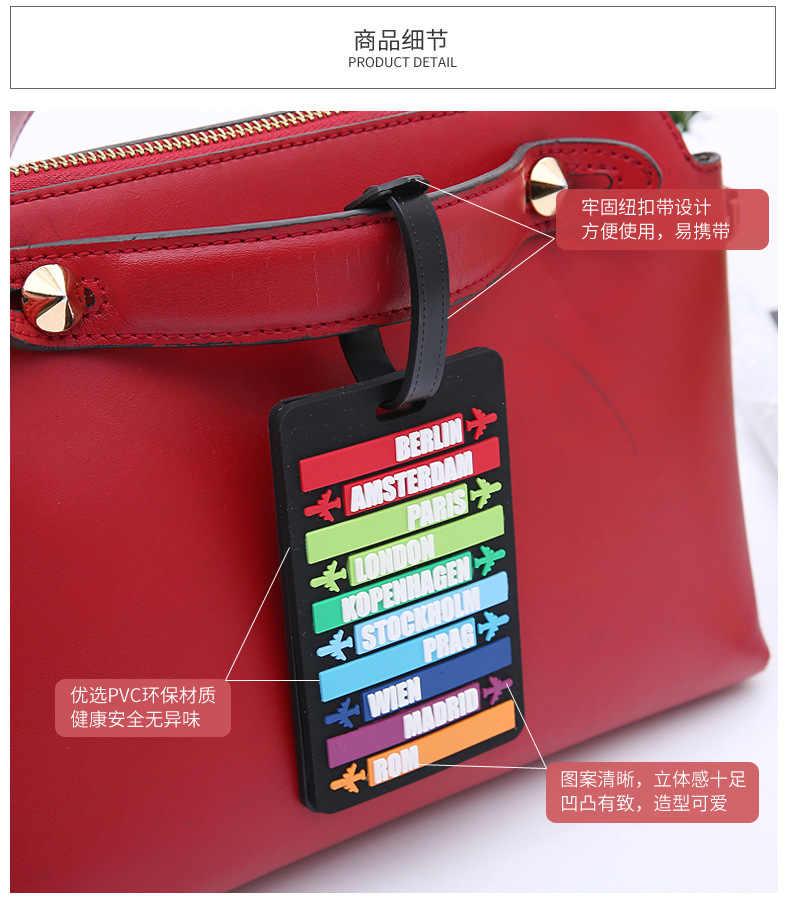 อุปกรณ์เสริมซิลิกาเจลกระเป๋าแฟชั่น Rainbow เครื่องบินกระเป๋าเดินทาง ID ที่อยู่ Holder Baggage Boarding Tag แบบพกพา Labe