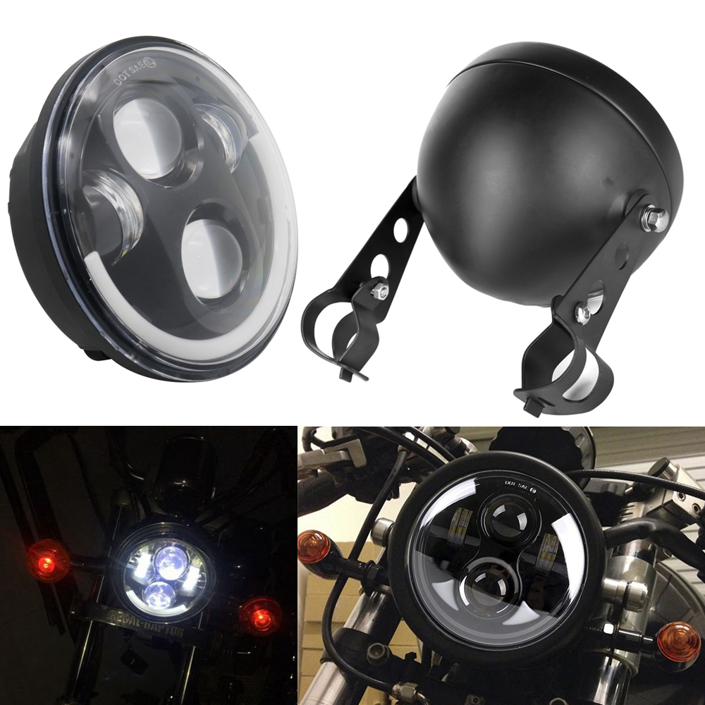 5.75 Angel Eye DRL Motorcycle Headlight With 5 3/4