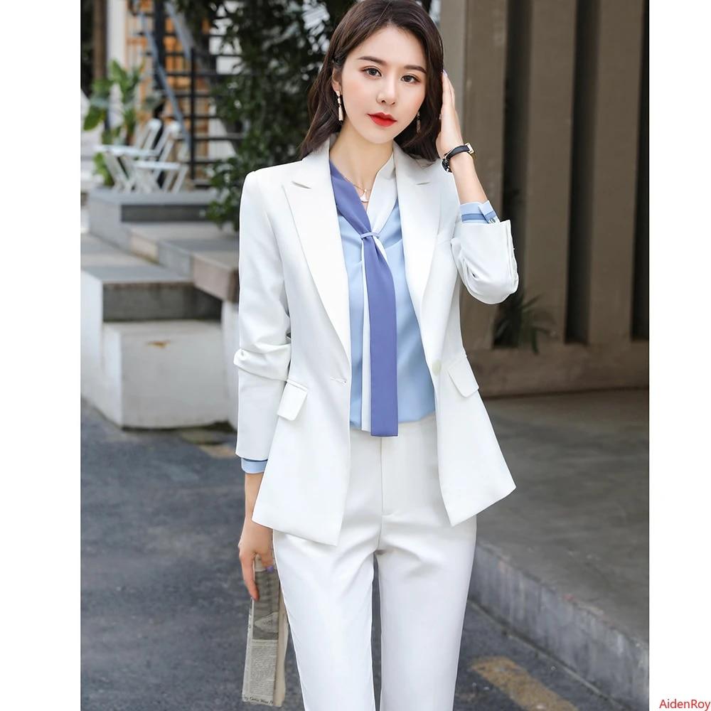 Blazer Formal De Oficina Para Mujer Chaqueta Pantalones Conjunto De 2 Piezas De Ropa De Trabajo Tops Y Blusas Para Mujer Trajes Para Mujer Otono 2020 Trajes De Pantalon Aliexpress
