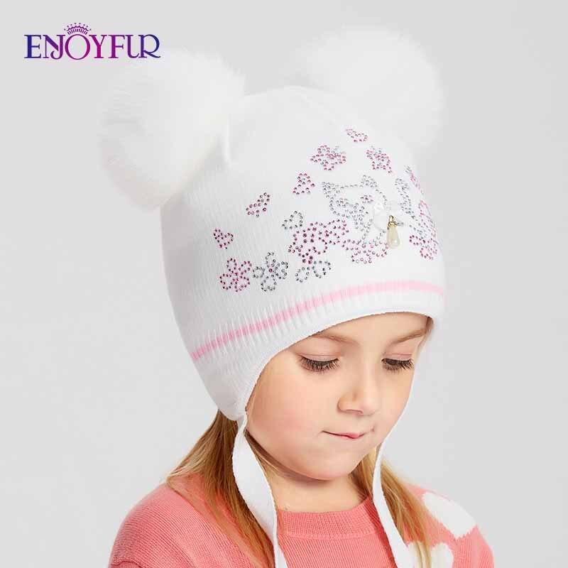 ENJOYFUR Girls Winter Hats Double Fox Fur Pompom Kids hat Cute Cat Pattern Rhinestone   Beanies   For Children Warm Knitted Caps
