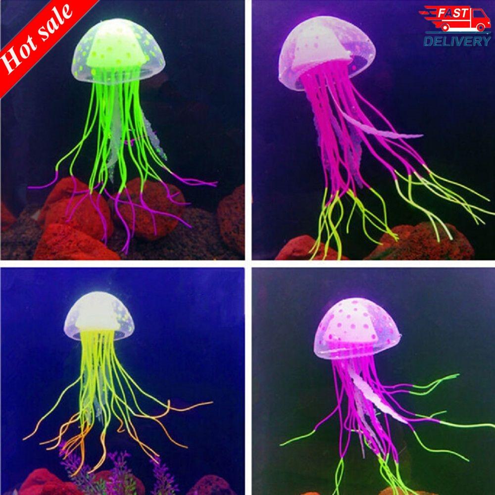 1pcs Glowing Moon Jellyfish Aquarium Decor Artificial Jellyfish Fish Tank Ornament Harmless to all fish For both fresh and salt(China)