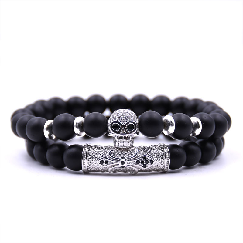 Matte Black Onyx Bracelet, Bracelet Stack, Skull Bracelet, Gift For Him, For Him, Men's Bracelet, Men's Jewelry, Black
