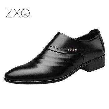 2019 nowy biznes mężczyźni oksfordzie buty stóp czarny brązowy mężczyzna biuro ślubne wskazał męskie skórzane buty tanie i dobre opinie Wiosna jesień Mesh Dla dorosłych XQ1321 Pasuje prawda na wymiar weź swój normalny rozmiar Oddychająca Masaż Slip-on