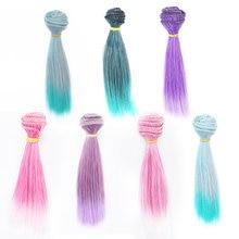 Perruque lisse multicolore pour poupées BJD, 15x100 cm, 1/3/1/4/1/6/1/8, accessoires de bricolage