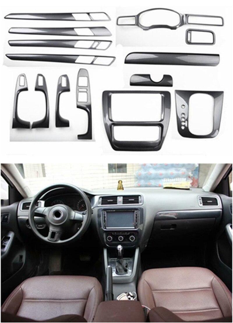 1lot Car Stickers ABS Carbon Fiber Grain Inside Decoration Cover For Volkswagen Vw 2012-2014 Jetta 6 MK6
