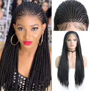 Charisma Synthetic Lace Front Wig Long Box Braided Wigs For Women Black Wigs with Baby Hair Heat Resistant Fiber Braids Wig(China)