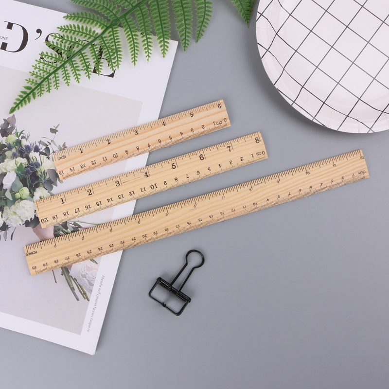 15cm /20cm/ 30cm Wooden Ruler Double Sided Student Learning Stationery Straight Rule School Office Measuring Tool C26