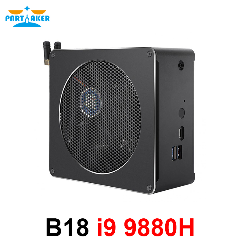 Gaming Mini PC i9 9880H 8 Core 16 Themen 2 * DDR4 2666MHz 2 * M.2 Nuc Windows 10 Pro Linux Desktop Computer AC Wifi DP HDMI