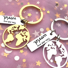 2019 New Keychain Stainless Steel Hollow Map Friends Couple Travel Commemorative Gift