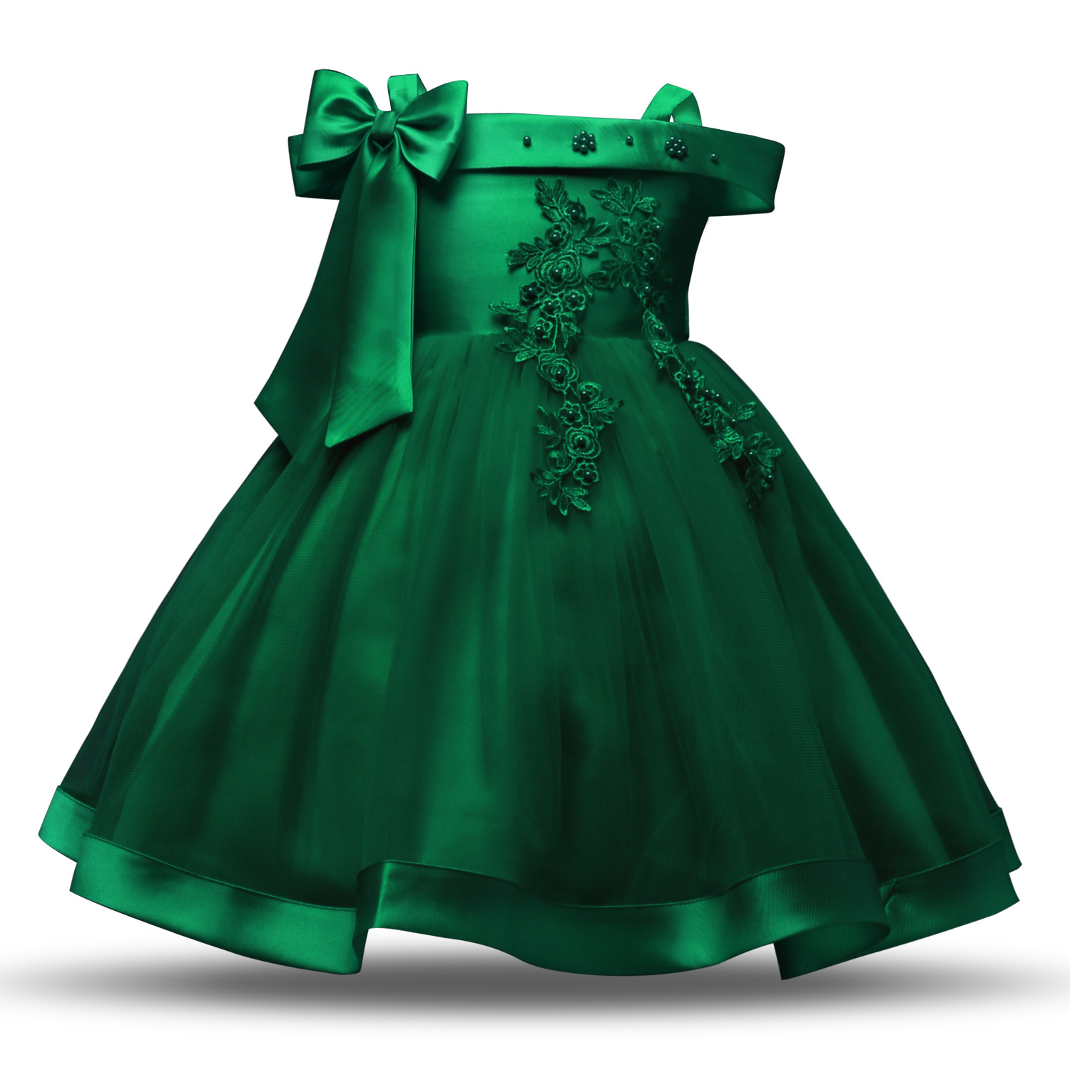 New Style Off-Shoulder Camisole Formal Dress Girls Bow Beads Flower Wedding Dress Dresses Of Bride Fellow Kids Princess Skirt