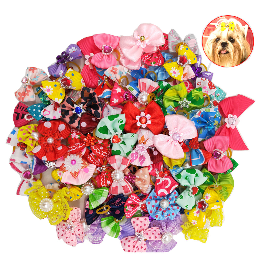 50/100pcs Small Dogs Bows Hair For Pets Accessories Supplies Dog Grooming Bows Rubber Bands Pet Supplies