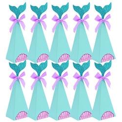 10 sztuk mała syrenka pudełko cukierków pudełka syrenka dekoracje na imprezę urodzinową dzieci Favor syrenka papierowa torba na ślub