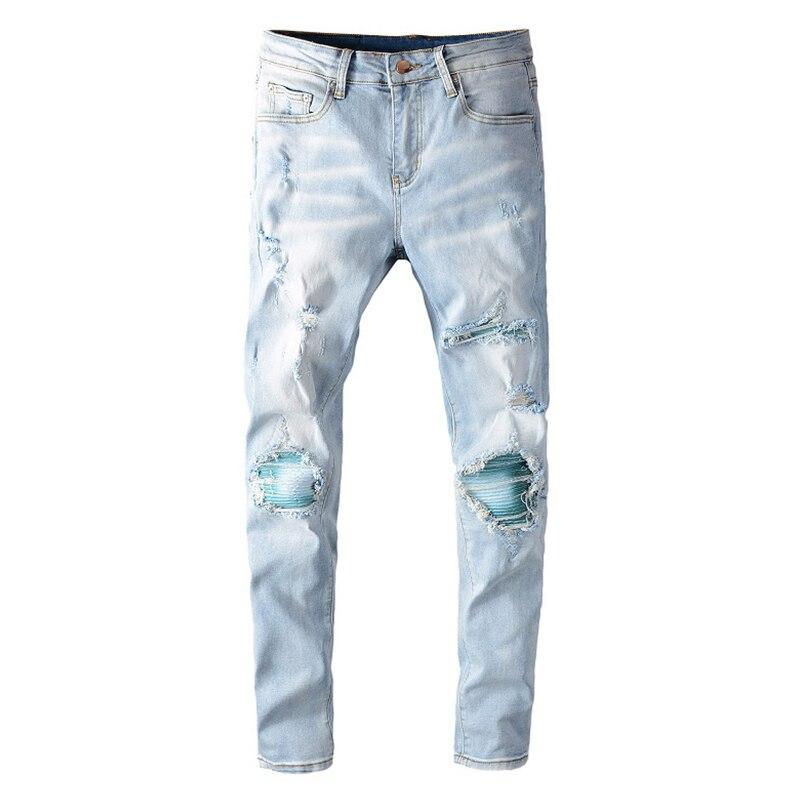 Men's light blue patchwork ripped biker jeans Streetwear slim skinny holes distressed stretch denim pants