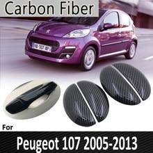 Черное углеродное волокно для Peugeot 107 2005 2006 2007 2008 2009 2010 2011 2012 2013 наклейка на крышку дверной ручки автомобильные аксессуары