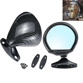 2Pcs Car Universal California Style Rearview ABS Carbon Fiber Color Door Wing Side Mirror Rearview