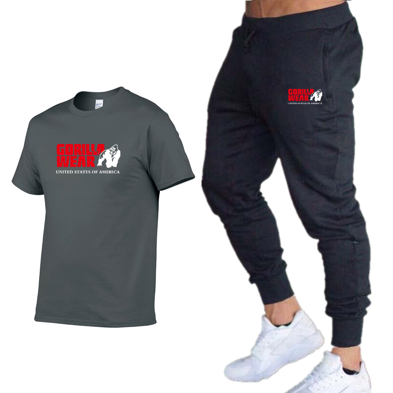 Men's Sets T Shirts+trousers Men Brand Two Piece Suit Tracksuit 2019 Male Casual Tshirts Workout Fitness Sets Jogger Suits For M