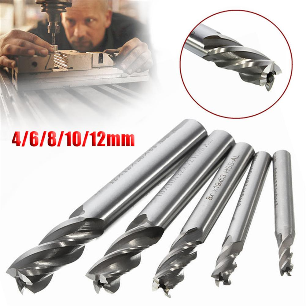 1pc HSS-AL 4 Flute End Mill Straight Shank Drill Bit Metal End Processing Mill Cutter Drill Bit Tool Power Tool Accessories
