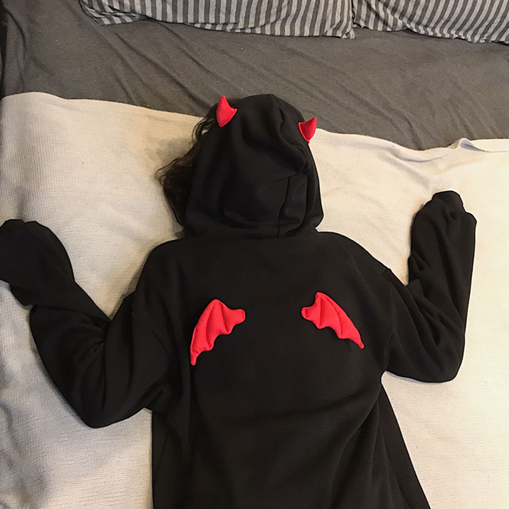 Devil Horn Hoodie Streetwear Devil Hoodie Gothic Hooded Hoody Women Loose Black Hooded Pollovers Sweatshirts Oversized Harajuku