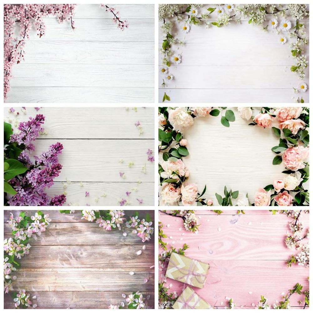 Spring Flower Wood Board Floor Texture Frame Plank Backdrop Custom Vinyl Baby Shower Photo Background Photophone Photozone Shoot