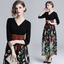 New women fashion chiffon printing V-neck dress three quarter high-waist slimming  vintage party ankle length