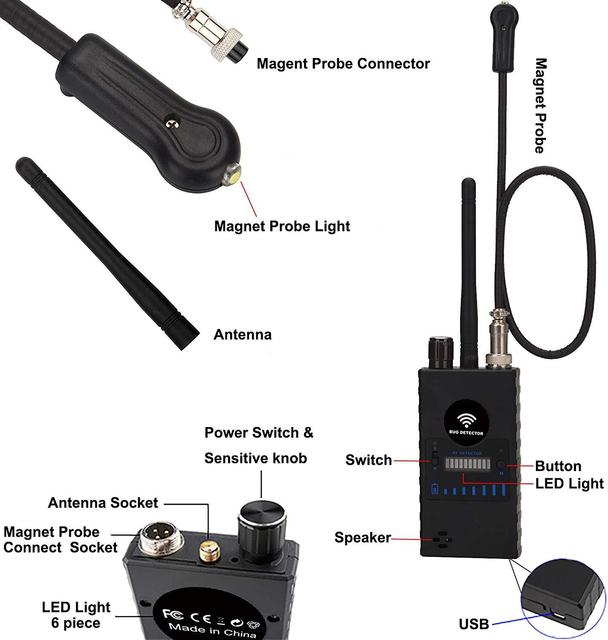 Anti Spy RF Detector,High Sensitivity Wireless Bug Detector for GPS Tracking GSM Listening Device Finder Radio Scanner 2