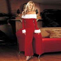 CUERLY Ladies Christmas Dress Santa Claus Costumes Flocking+Rabbit Fur Fancy Cosplay Clothes Good Quality Costume Christmas Suit