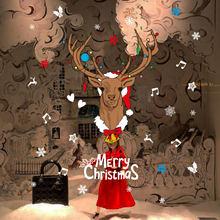 Мультяшная Рождественская Наклейка на стену с оленем для детской