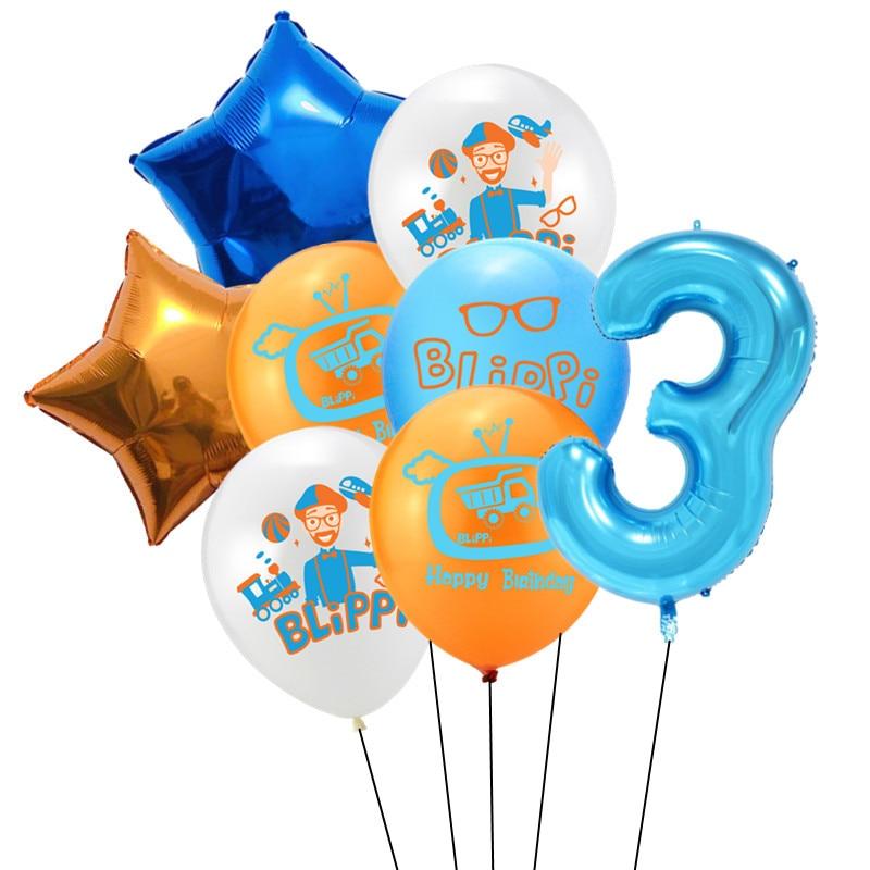 8 шт Blippi Фольга Шар 32 дюймов синий номер латексные воздушные шары с днем рождения Свадебная вечеринка украшения поставки детского дня рождения-0