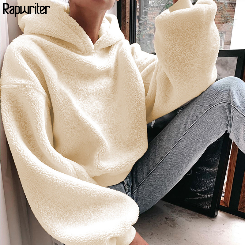 Rapwriter Casual Loose Raglan Long Sleeve Keep Warm Furry Hoodies Women 2019 Fall Winter Harajuku Pullovers Sweatshirt Solid Top