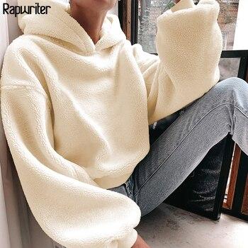 Rapwriter Casual Loose Raglan Long Sleeve Keep Warm Furry Hoodies Women 2020 Fall Winter Harajuku Pullovers Sweatshirt Solid Top
