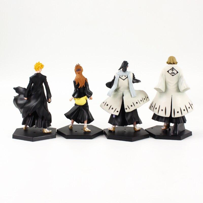 He6c83f140bd449c9aa29ece3037f735c3 Action Figure Bleach Anime 4 pçs/lote 12cm Figuras Lixívia Kurosaki Ichigo Kuchiki Byakuya Orihime Inoue Abarai Anime Brinquedos Modelo