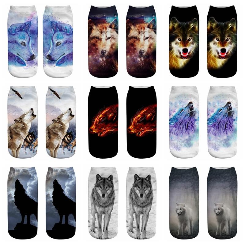New Wolf 3D Printing Animal Socks Sock Fashion Unisex Cartoon Socks Meias Female Funny Low Ankle Sock Women Men