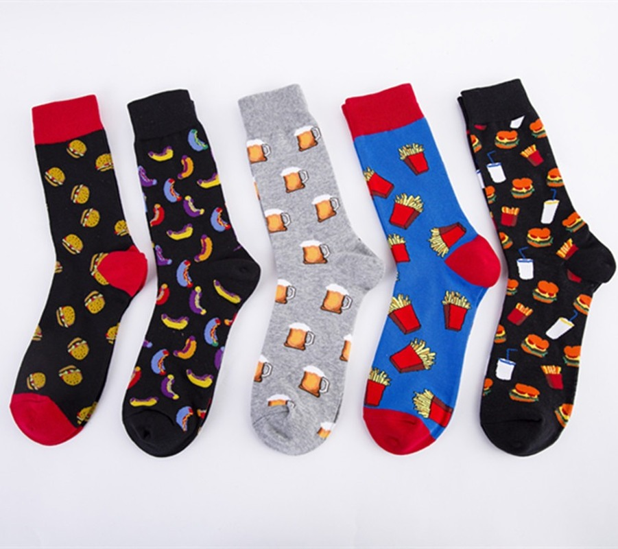 New For 2020 Big Size Cartoon Men's Socks Cotton With Beer Burger Happy Socks For Men Meias 51401