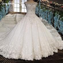 LS00158 ver por trás apliques mangas cap de renda vestido de baile beading laço Vestidos de casamento de luxo fotos reais