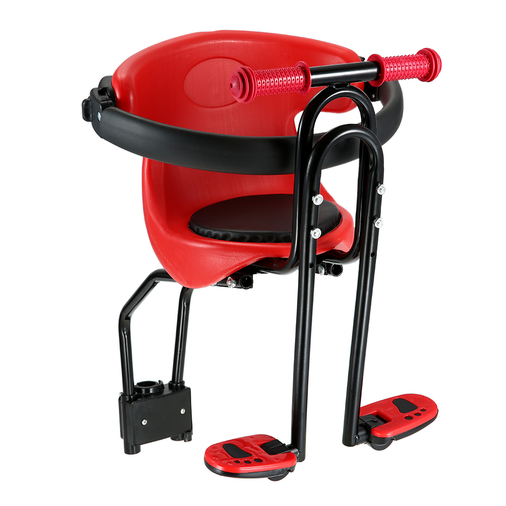 Hot Sale Bicycle Safe Baby Seat Child Safety Carrier Front Seat Saddle Cushion with Back Rest Foot Pedals MTB bike Baby Seat-in Bicycle Saddle from Sports & Entertainment    1