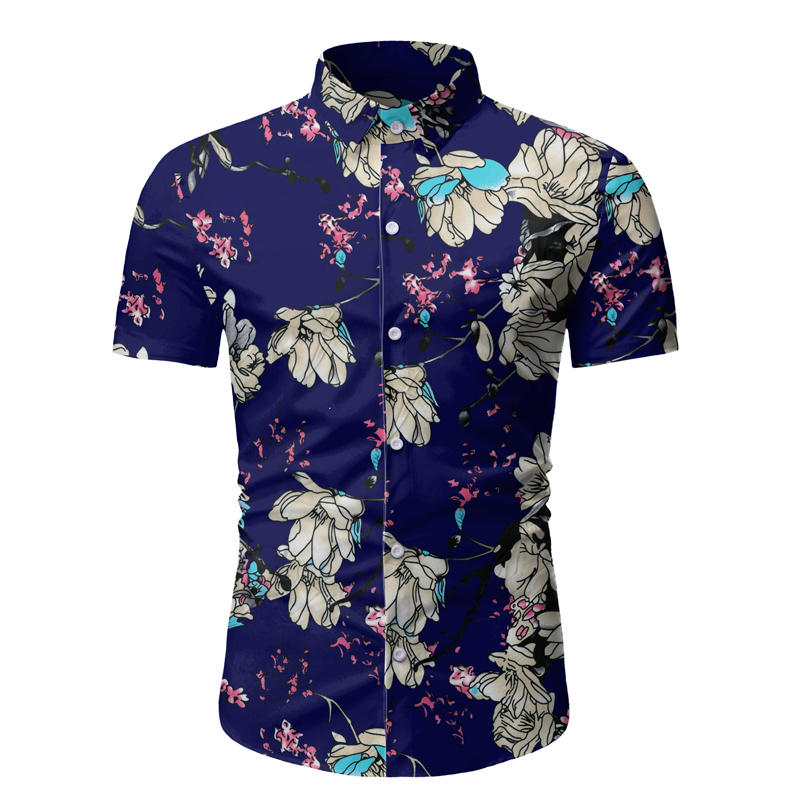 2020 New Fashion Flower Shirt Men Print Shirts Hawaiian Slim Fit Camisa Floral Masculina Summer Short Sleeve Shirts Tops Casual Shirts Aliexpress