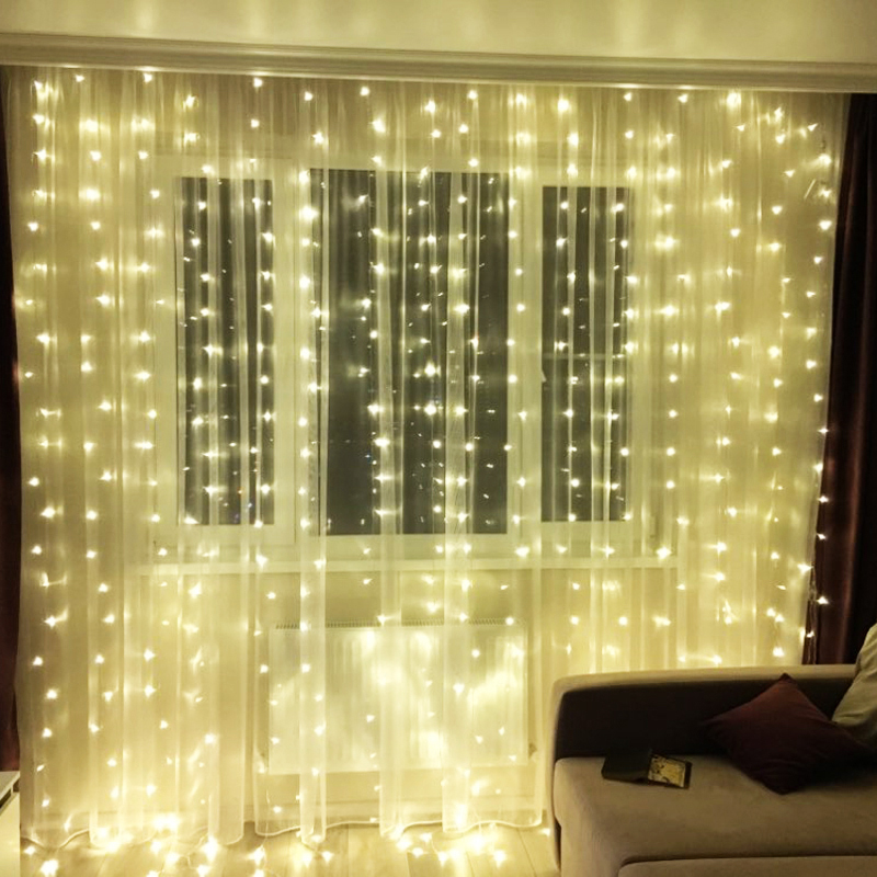 10M x 3M Icicle Garland LED Curtain String Lights Christmas Decorations Holiday Party Home Patio Wedding fairy lights For Room