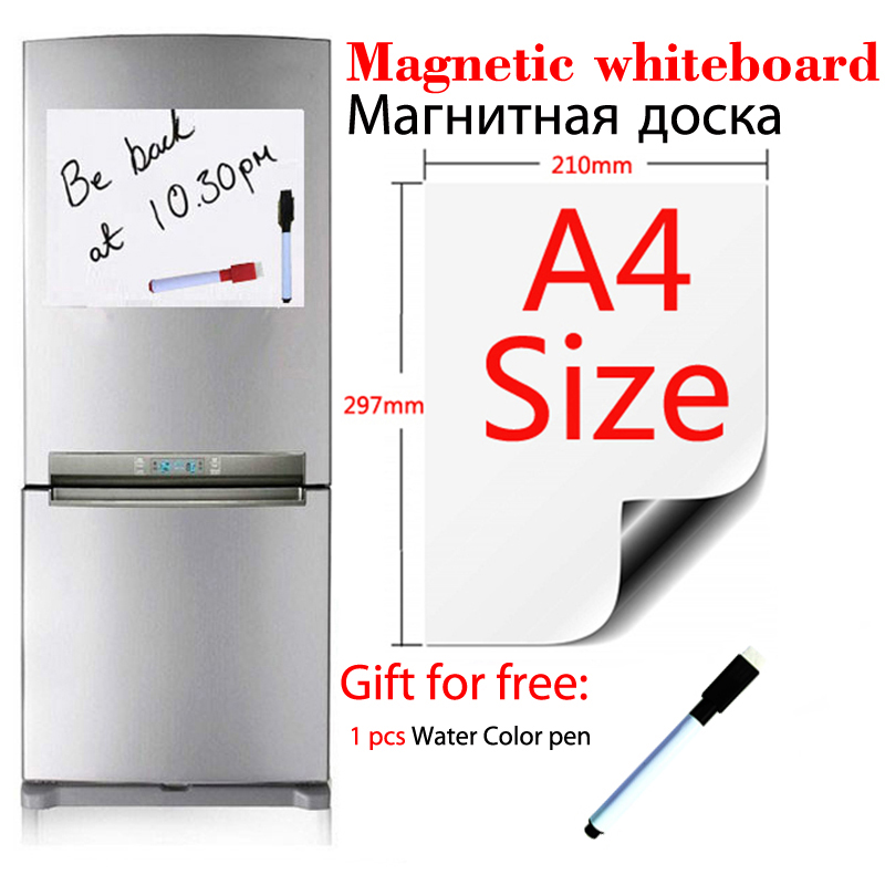 A4 Size Magnetic Whiteboard Fridge Sticker Dry Erase White Boards School Home Office Kitchen Message Board Gift 1 Black Pen