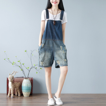 Fashion 2020 Japanese women's large size jeans washed gradient wear worn worn 5 - cent suspenders
