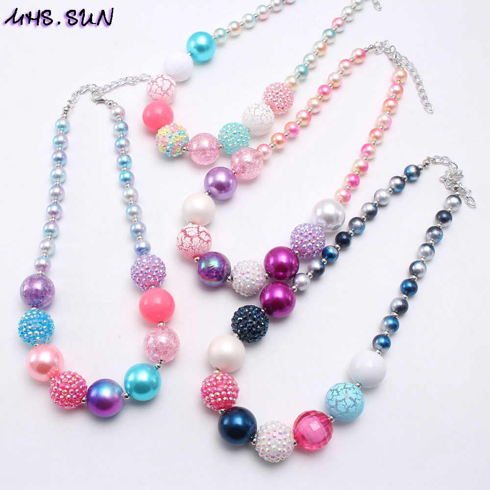 MHS.SUN New Colorful Beads Necklace Bracelet Fashion Girls Kids Chunky Bubblegum Jewelry Set For Child Gift Adorable Style