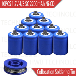 10PCS/lot Ni-Cd 1.2V 2200mAh 4/5 SubC Sub 4/5SC Rechargeable Battery with Tab - Blue Power tools battery Free shipping