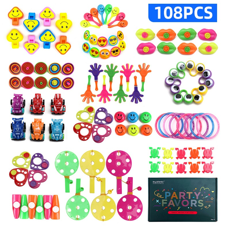 108PCS Kids Birthday Party Favors Pinata Filler Toy Carnival Prizes School Classroom Reward Assortment Set Bulk Toy Treasure Box