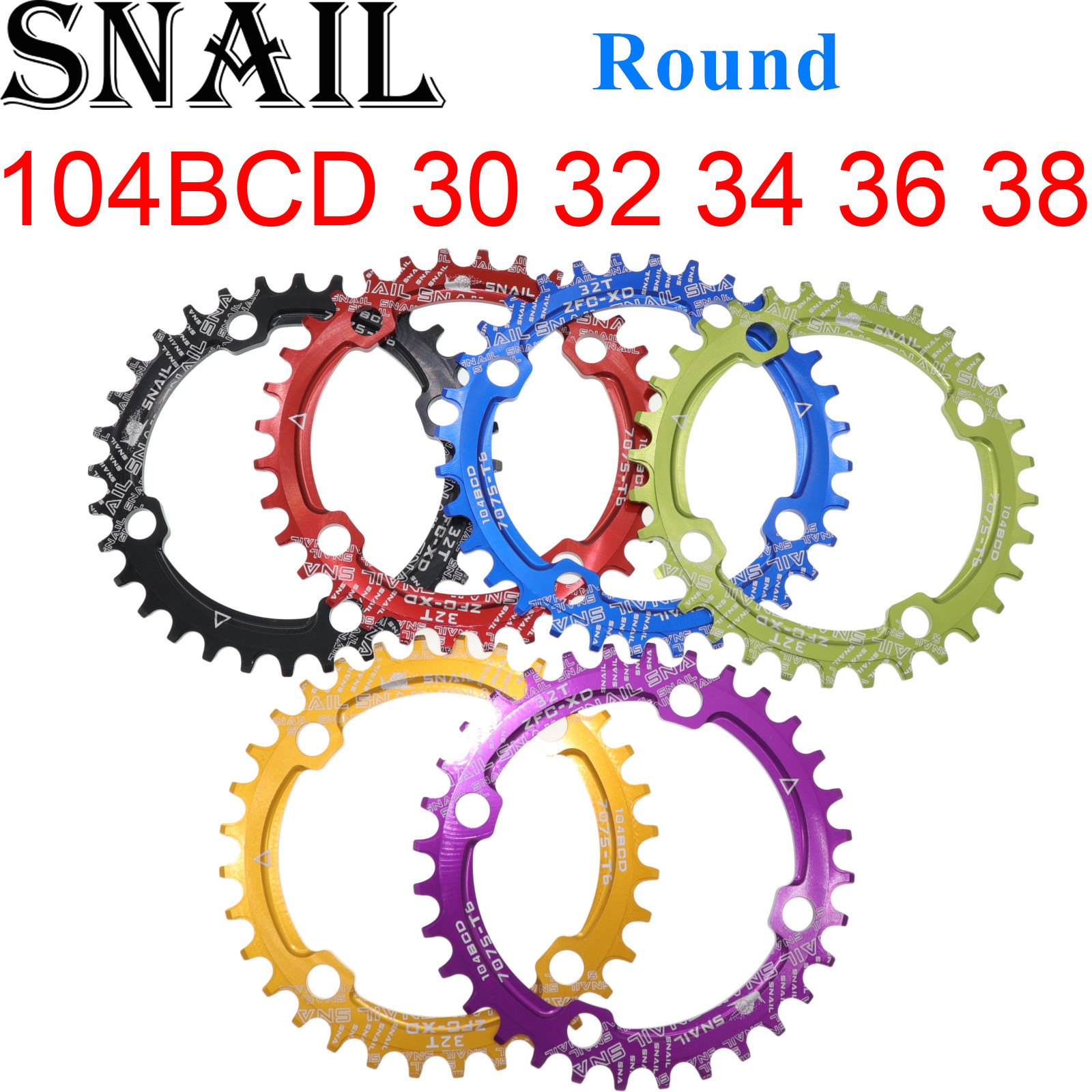 SNAIL 104BCD Round Bike Bicycle MTB Chainring <font><b>32T</b></font> 34T 36T 38T <font><b>Narrow</b></font> <font><b>Wide</b></font> Ultralight Tooth Plate MTB Mountain BCD 104 Chainwheel image
