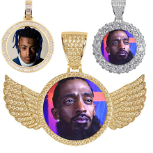Custom Photo Hip hop Necklace Medallions Copper Chain Cubic Zircon Picture necklace Men's Jewelry Memory  Gift